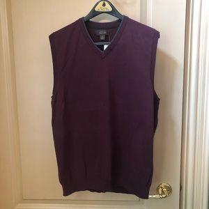 Tasso Elba Dark Plum Burgundy Sweater Vest, Size L
